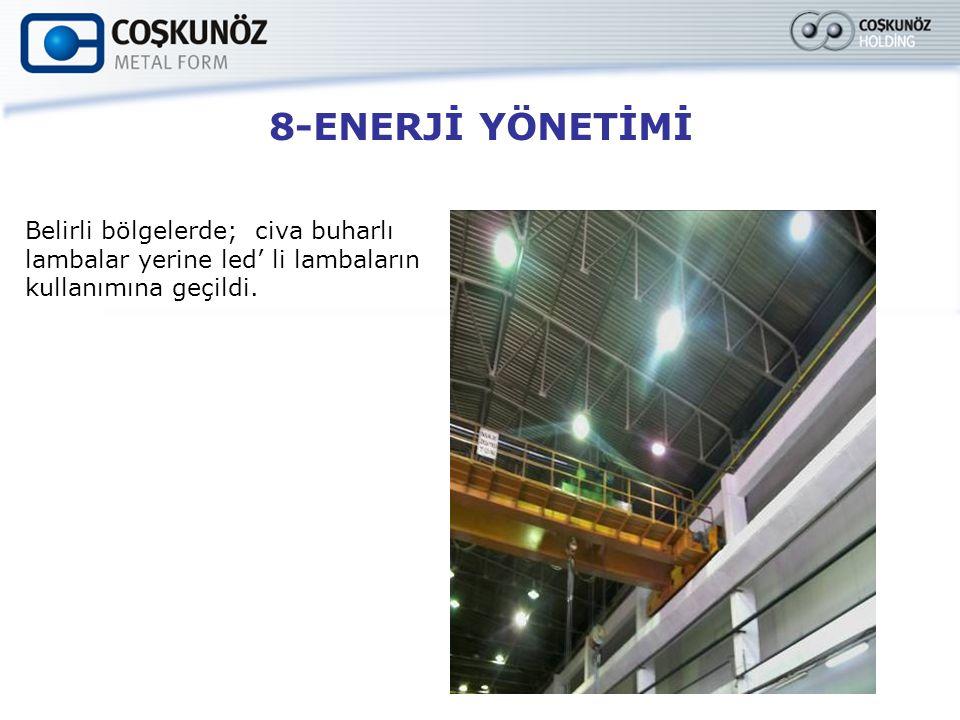 8-ENERJİ YÖNETİMİ Belirli bölgelerde; civa buharlı lambalar yerine led' li lambaların kullanımına geçildi.