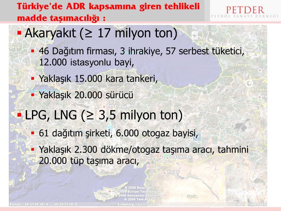 Türkiye'de ADR kapsamına giren tehlikeli madde taşımacılığı :