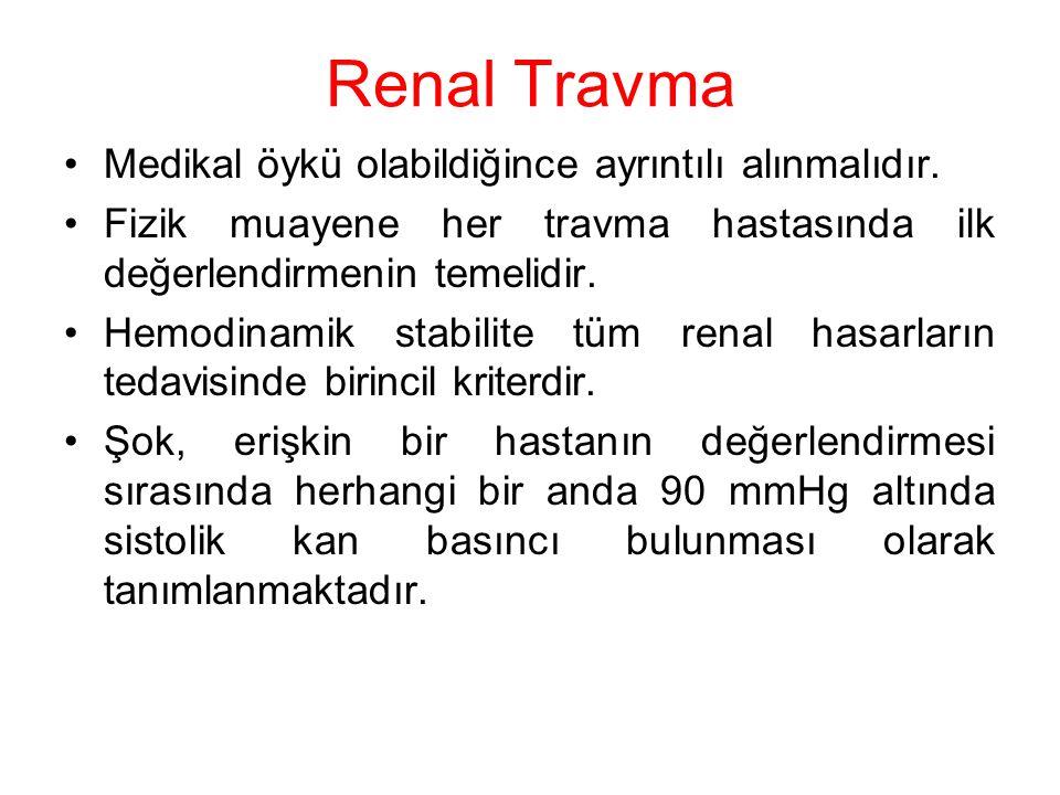 Renal Travma Medikal öykü olabildiğince ayrıntılı alınmalıdır.