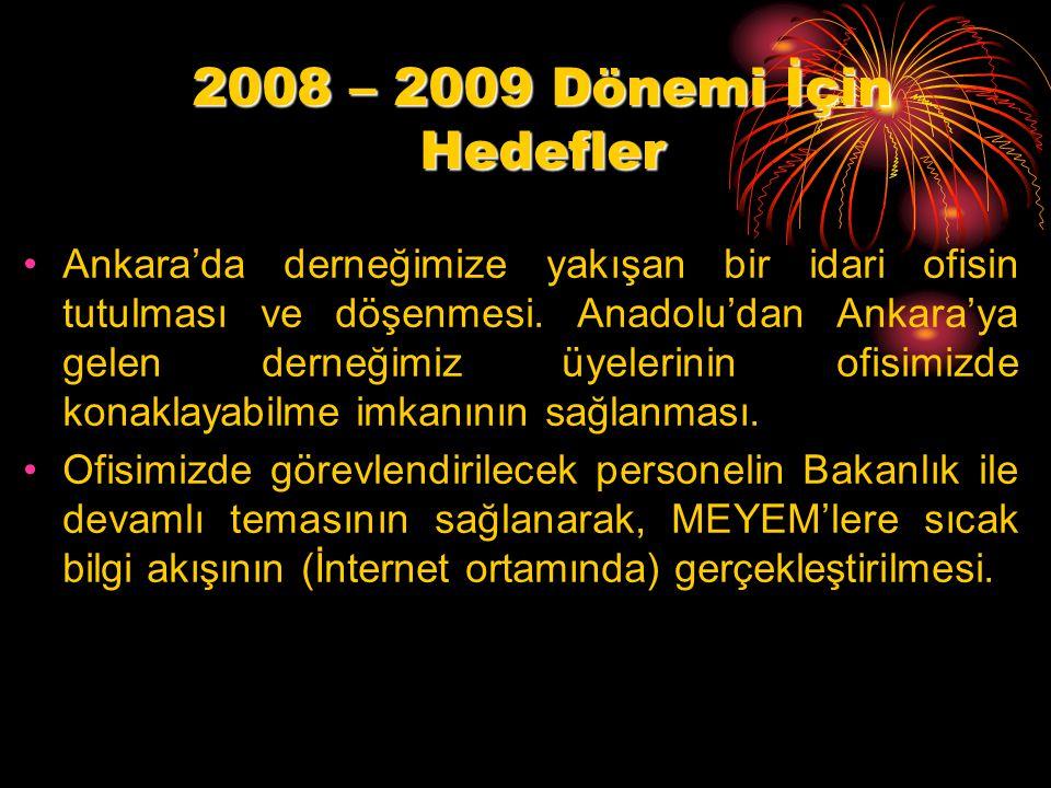 2008 – 2009 Dönemi İçin Hedefler