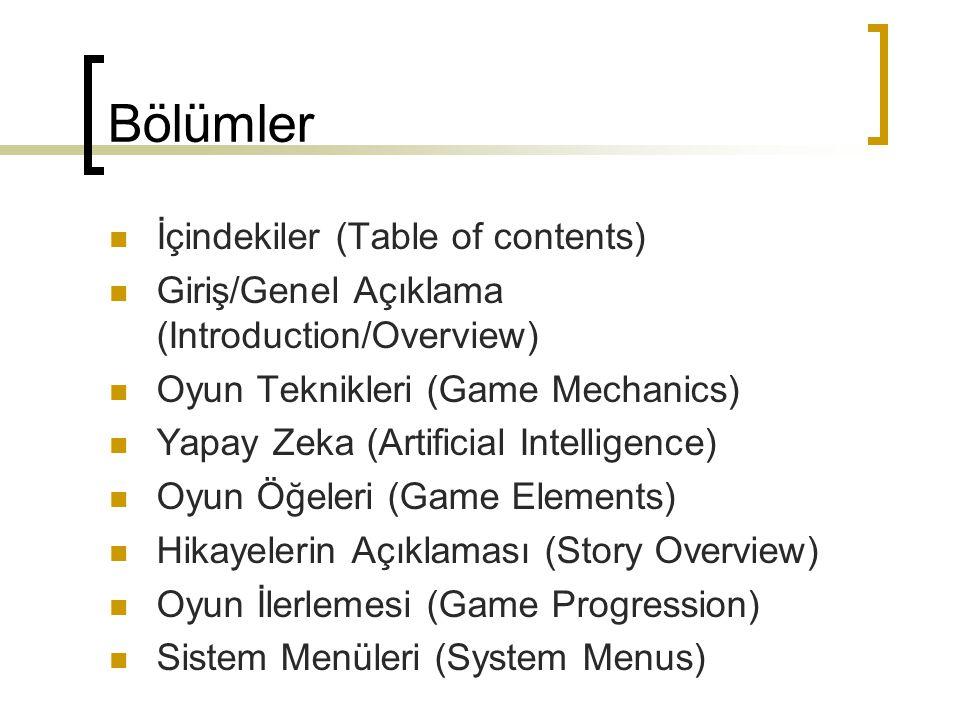 Bölümler İçindekiler (Table of contents)