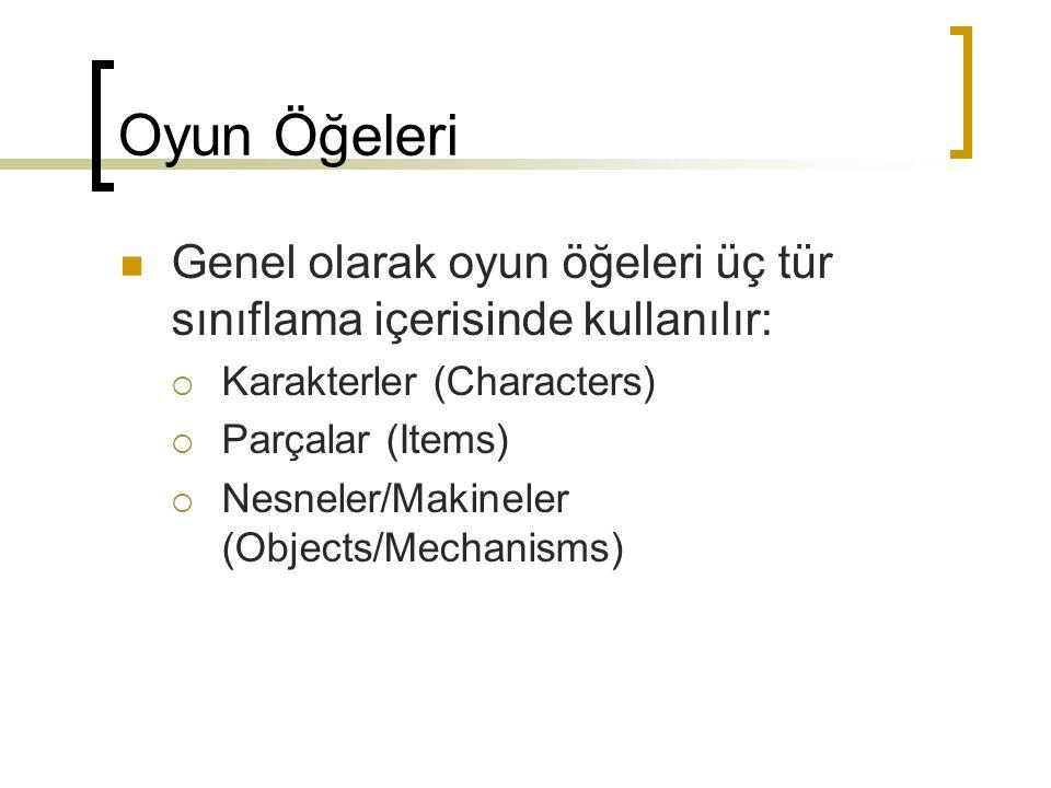 Oyun Öğeleri Genel olarak oyun öğeleri üç tür sınıflama içerisinde kullanılır: Karakterler (Characters)