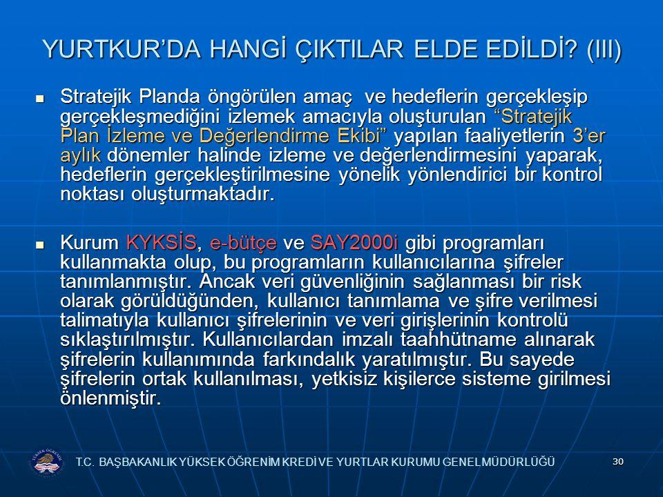 YURTKUR'DA HANGİ ÇIKTILAR ELDE EDİLDİ (III)