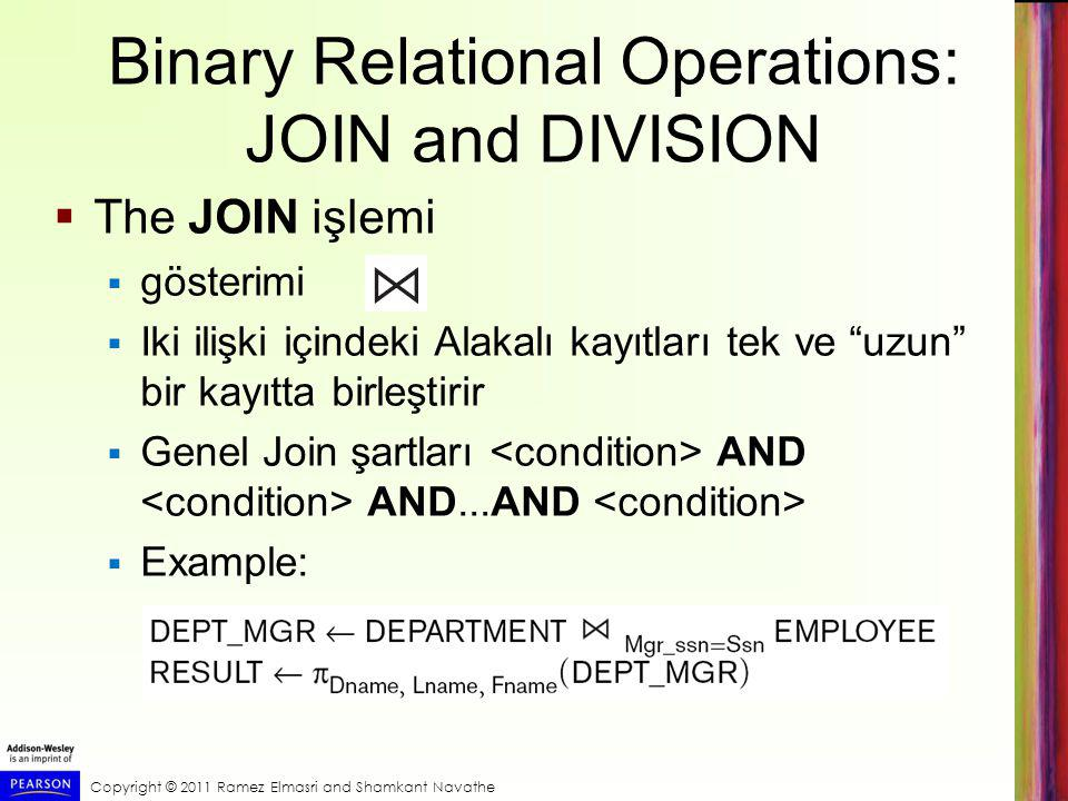 Binary Relational Operations: JOIN and DIVISION