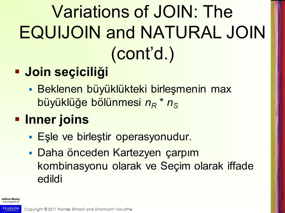 Variations of JOIN: The EQUIJOIN and NATURAL JOIN (cont'd.)