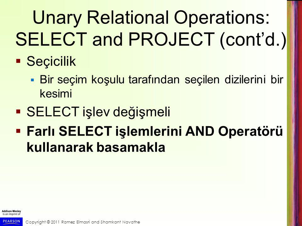 Unary Relational Operations: SELECT and PROJECT (cont'd.)
