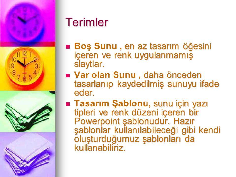 Terimler Boş Sunu , en az tasarım öğesini içeren ve renk uygulanmamış slaytlar.