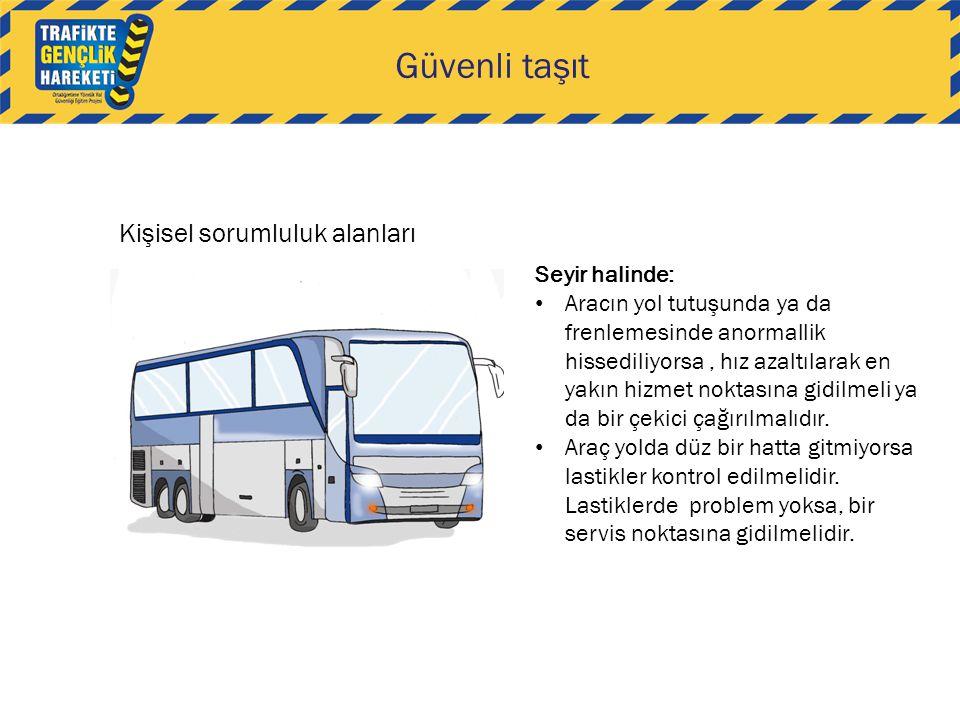 Güvenli taşıt Kişisel sorumluluk alanları Seyir halinde: