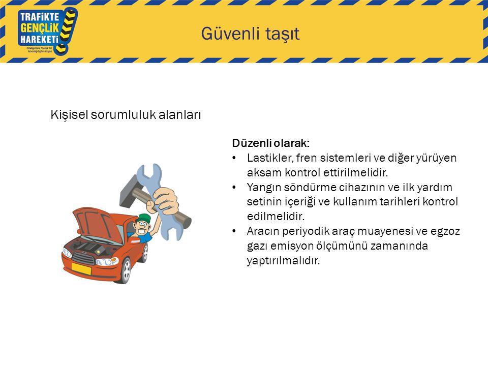 Güvenli taşıt Kişisel sorumluluk alanları Düzenli olarak: