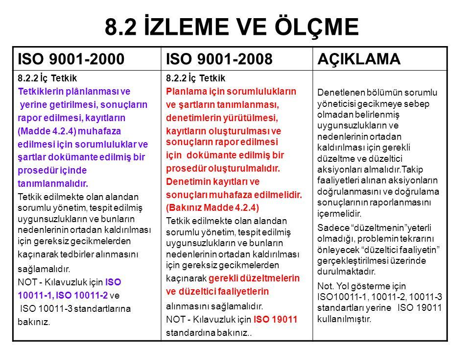 8.2 İZLEME VE ÖLÇME ISO 9001-2000 ISO 9001-2008 AÇIKLAMA