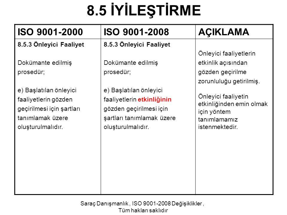 Saraç Danışmanlık , ISO 9001-2008 Değişiklikler ,