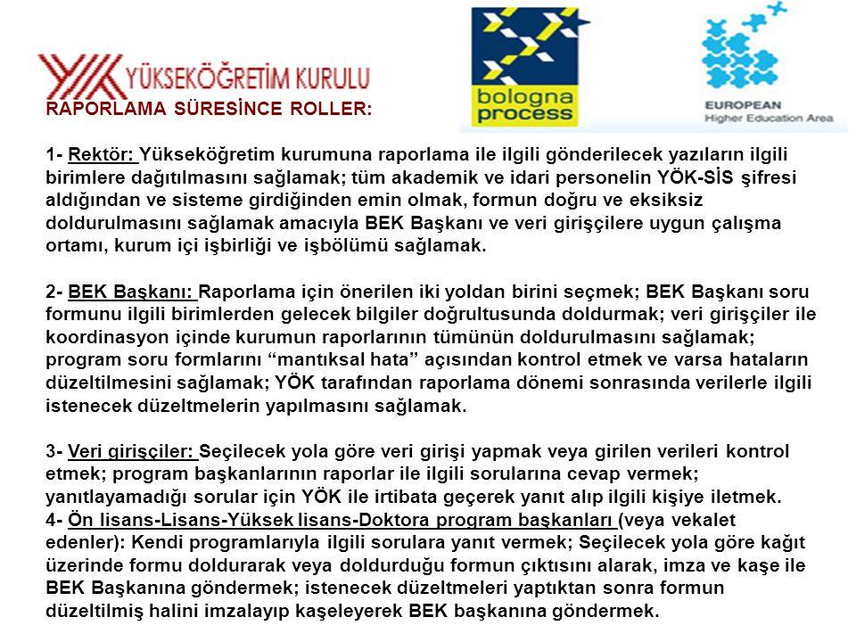 RAPORLAMA SÜRESİNCE ROLLER: