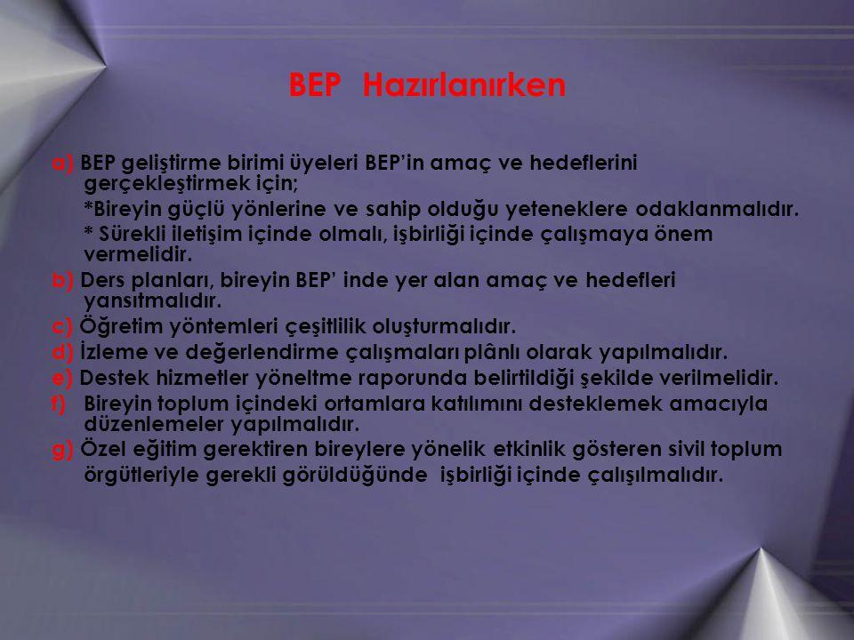 BEP Hazırlanırken a) BEP geliştirme birimi üyeleri BEP'in amaç ve hedeflerini gerçekleştirmek için;