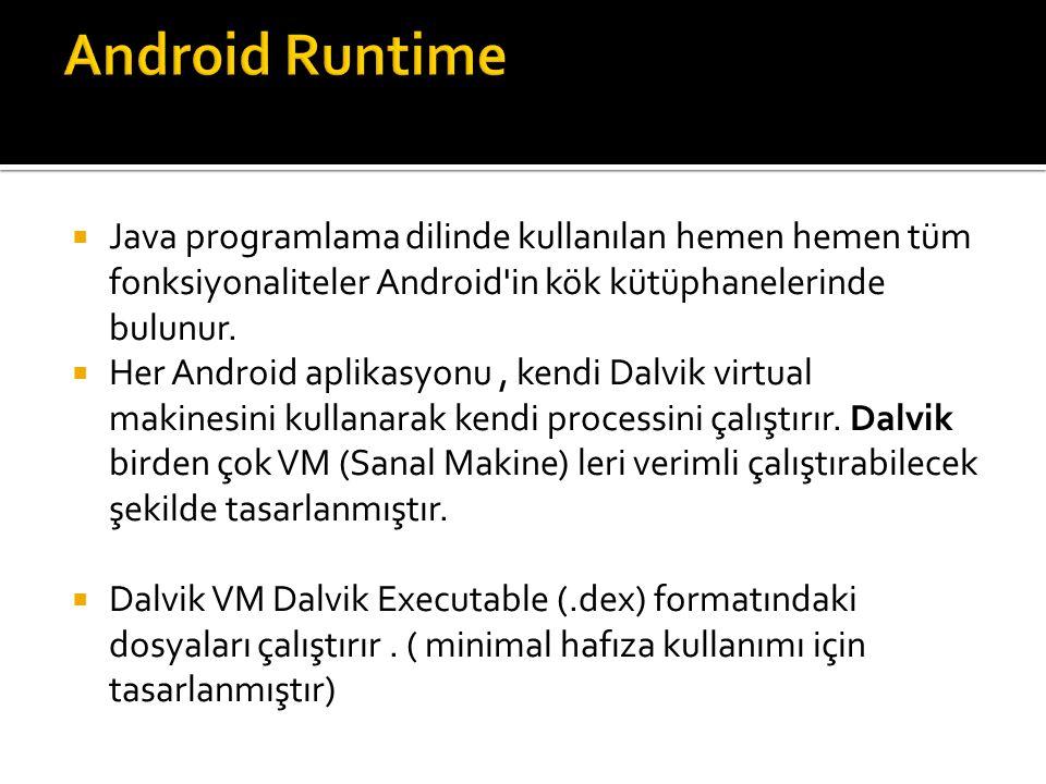 Android Runtime Java programlama dilinde kullanılan hemen hemen tüm fonksiyonaliteler Android in kök kütüphanelerinde bulunur.