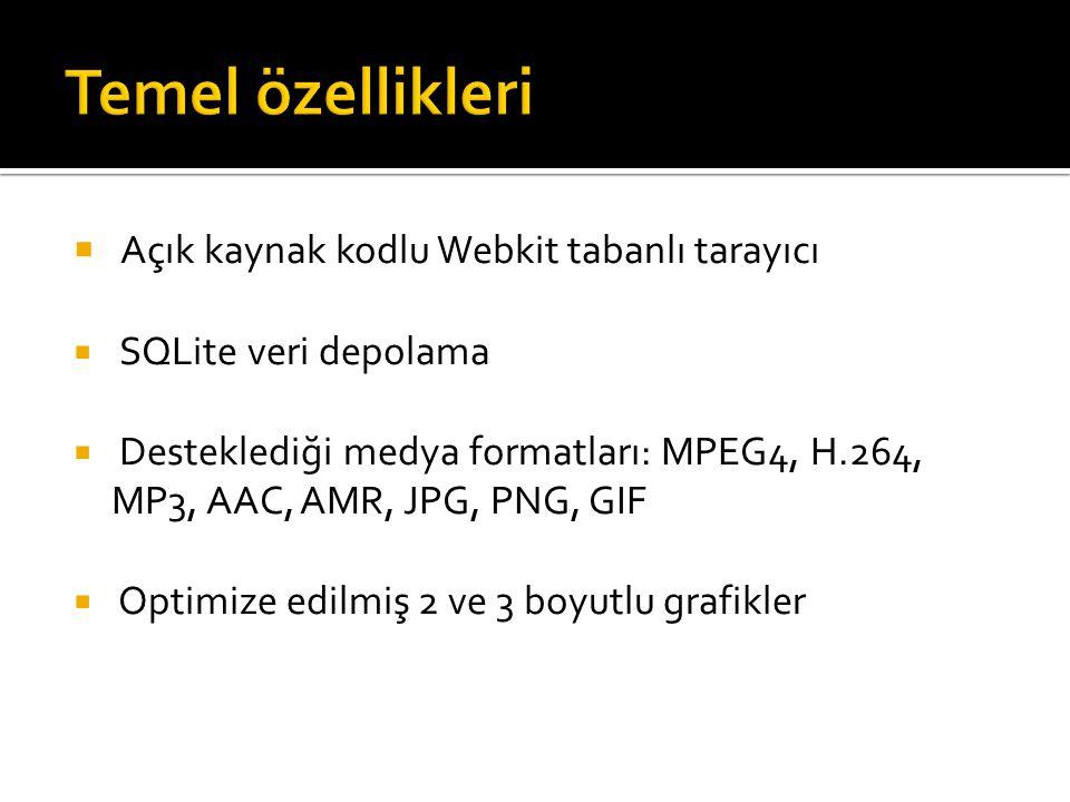 Temel özellikleri Açık kaynak kodlu Webkit tabanlı tarayıcı