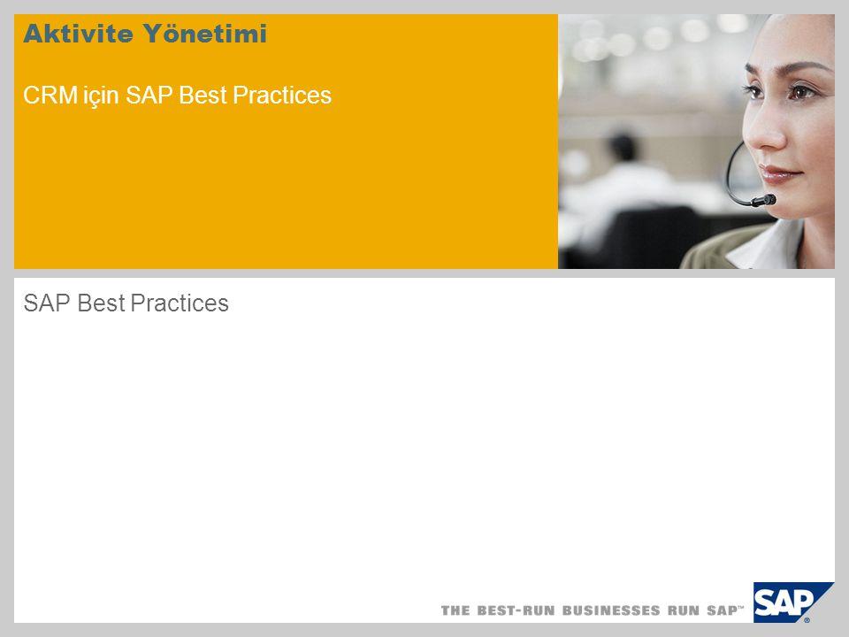 Aktivite Yönetimi CRM için SAP Best Practices