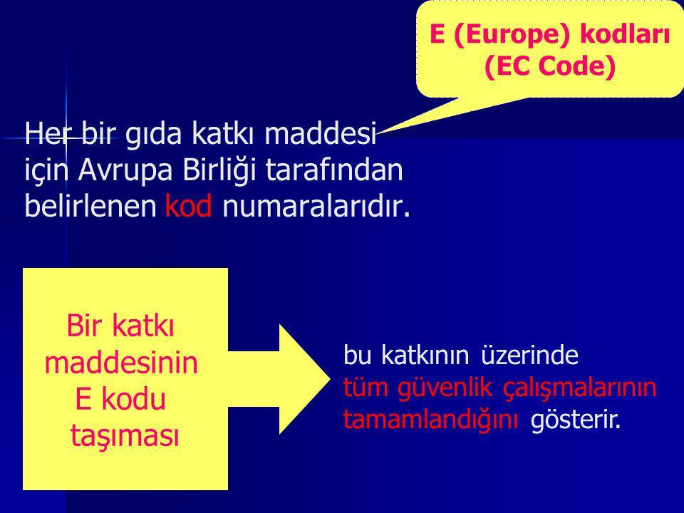 E (Europe) kodları (EC Code)
