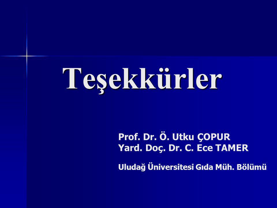 Teşekkürler Prof. Dr. Ö. Utku ÇOPUR Yard. Doç. Dr. C. Ece TAMER