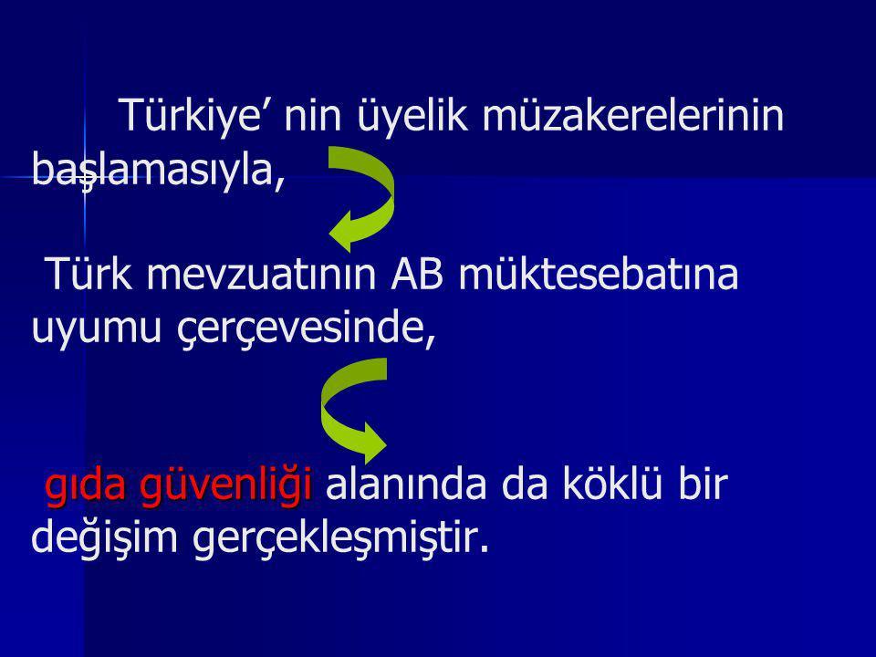Türkiye' nin üyelik müzakerelerinin başlamasıyla, Türk mevzuatının AB müktesebatına uyumu çerçevesinde, gıda güvenliği alanında da köklü bir değişim gerçekleşmiştir.