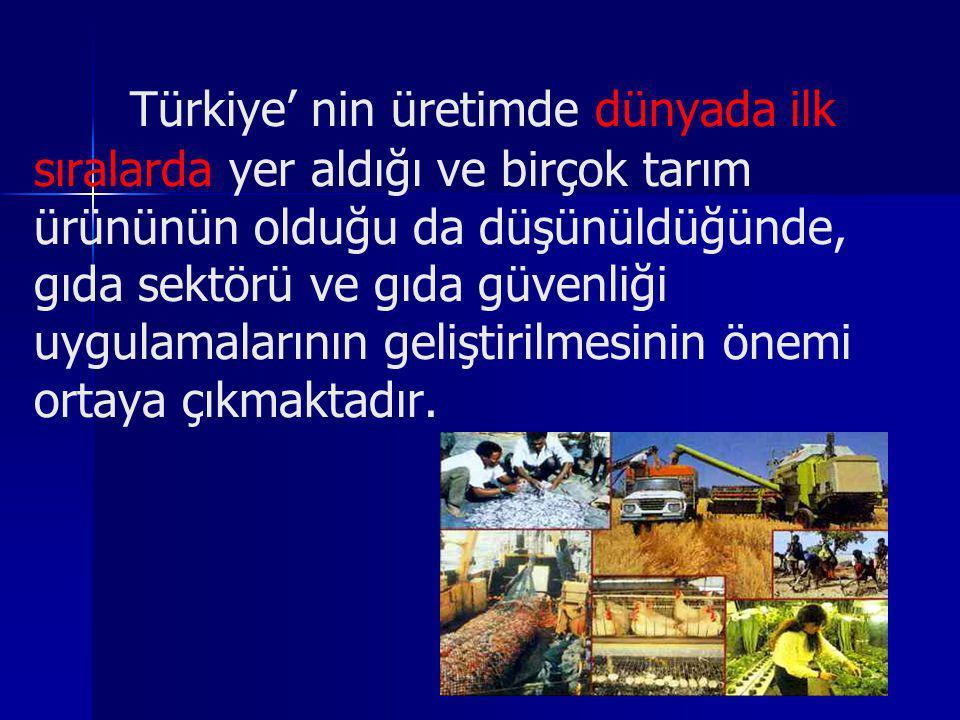 Türkiye' nin üretimde dünyada ilk sıralarda yer aldığı ve birçok tarım ürününün olduğu da düşünüldüğünde, gıda sektörü ve gıda güvenliği uygulamalarının geliştirilmesinin önemi ortaya çıkmaktadır.