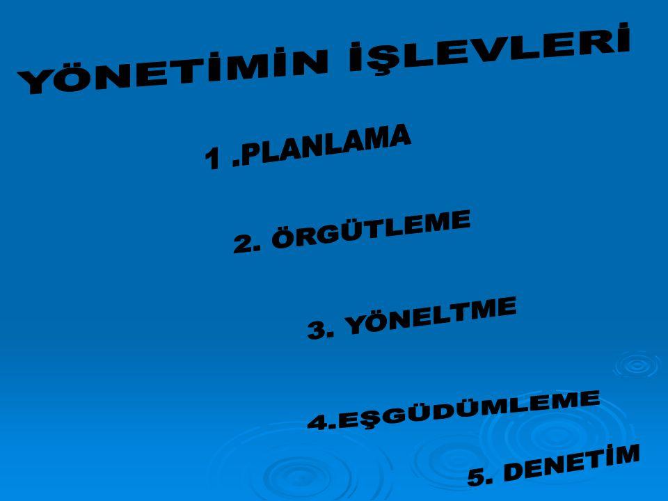 YÖNETİMİN İŞLEVLERİ 1 .PLANLAMA 2. ÖRGÜTLEME 3. YÖNELTME 4.EŞGÜDÜMLEME 5. DENETİM