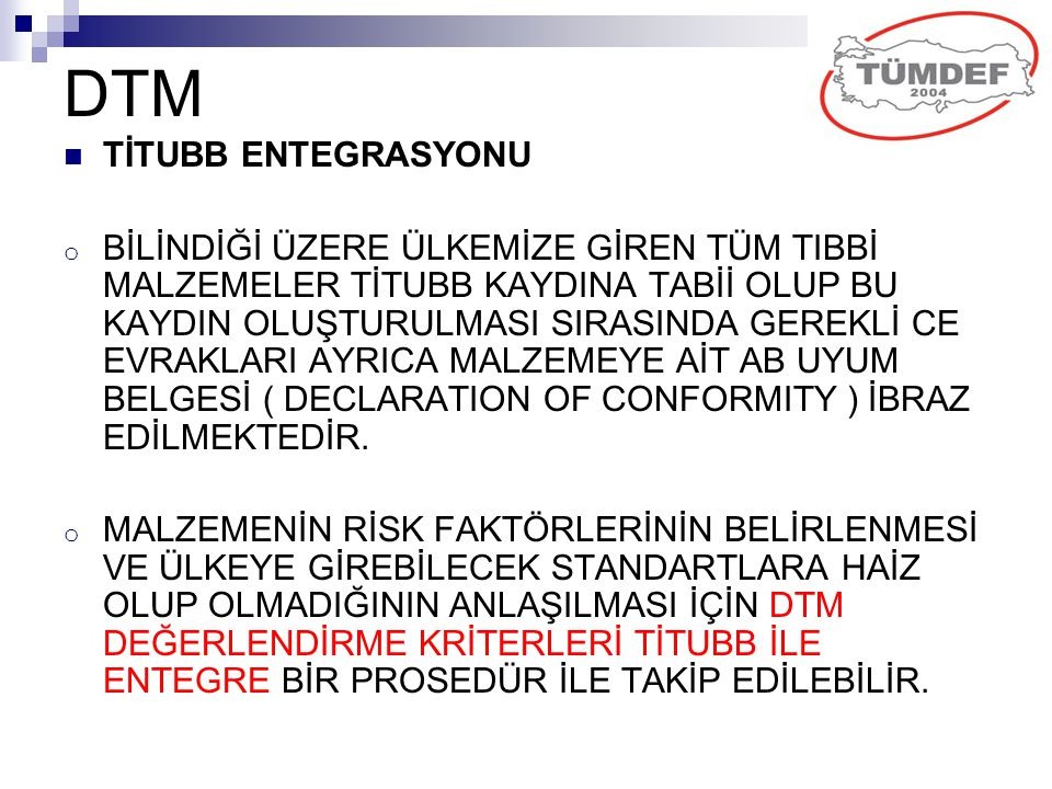 DTM TİTUBB ENTEGRASYONU