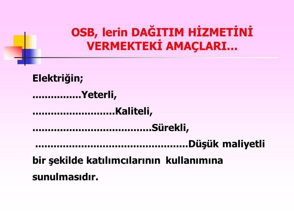 OSB, lerin DAĞITIM HİZMETİNİ VERMEKTEKİ AMAÇLARI...