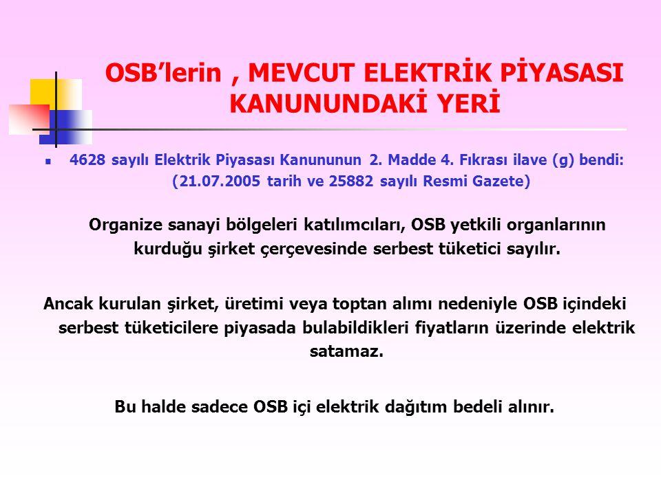 OSB'lerin , MEVCUT ELEKTRİK PİYASASI KANUNUNDAKİ YERİ