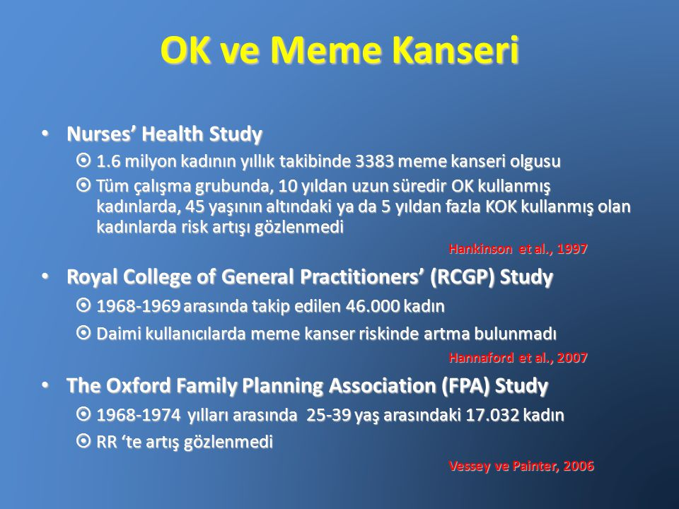 OK ve Meme Kanseri Nurses' Health Study