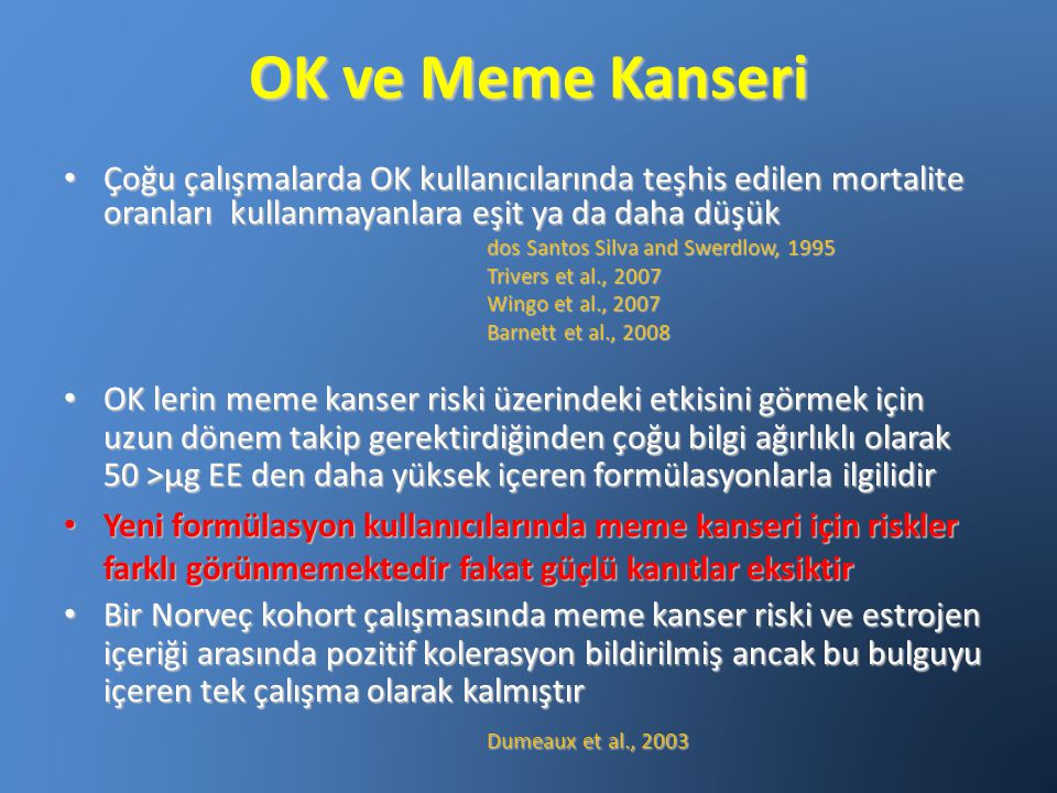 OK ve Meme Kanseri Çoğu çalışmalarda OK kullanıcılarında teşhis edilen mortalite oranları kullanmayanlara eşit ya da daha düşük.