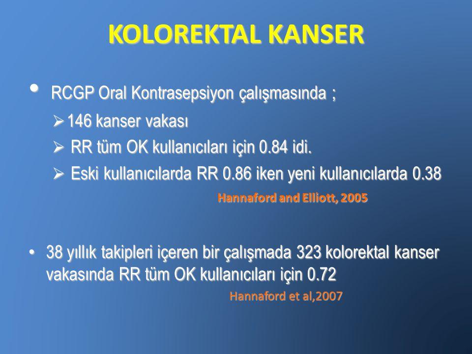 KOLOREKTAL KANSER RCGP Oral Kontrasepsiyon çalışmasında ;