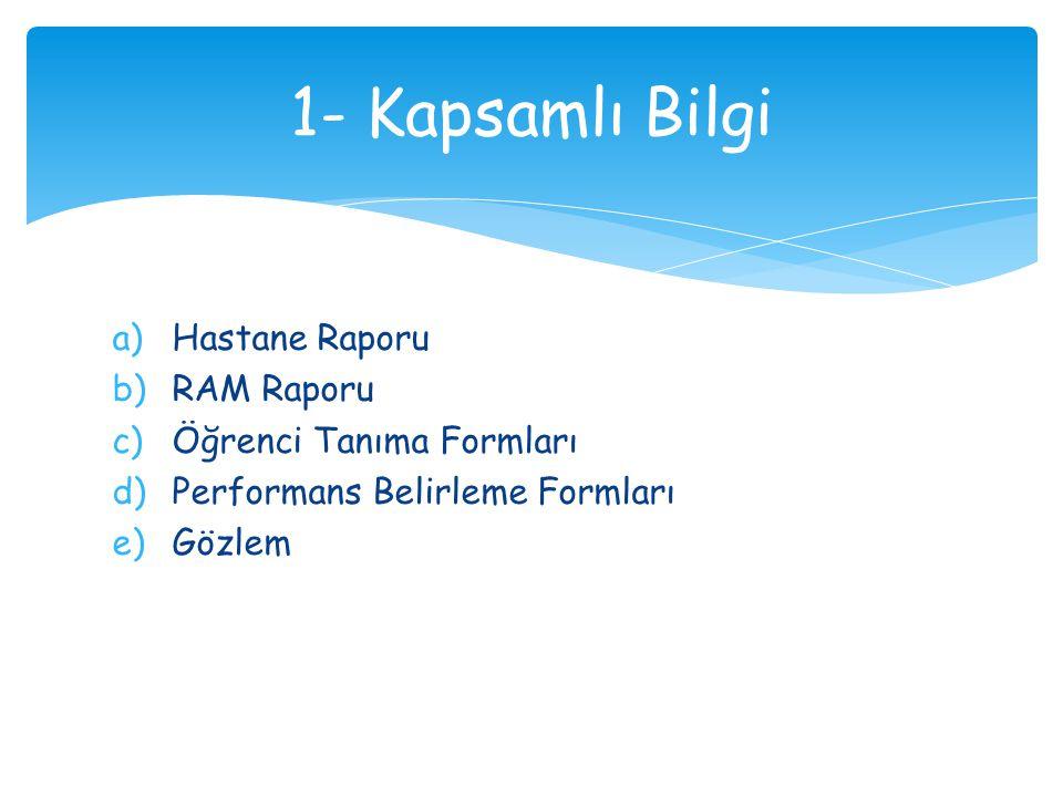 1- Kapsamlı Bilgi Hastane Raporu RAM Raporu Öğrenci Tanıma Formları