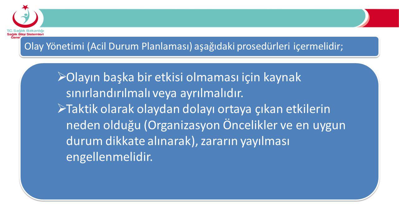 Olay Yönetimi (Acil Durum Planlaması) aşağıdaki prosedürleri içermelidir;