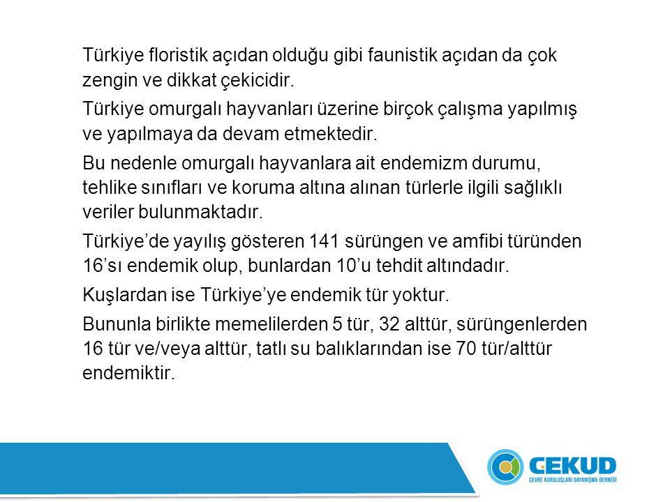 Türkiye floristik açıdan olduğu gibi faunistik açıdan da çok zengin ve dikkat çekicidir.