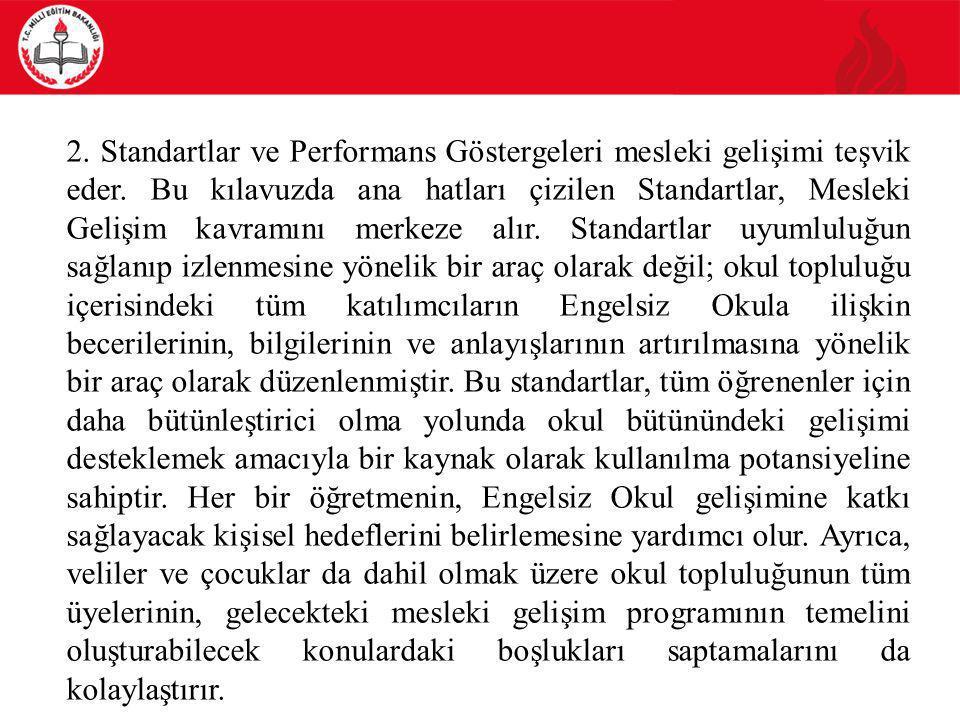 2. Standartlar ve Performans Göstergeleri mesleki gelişimi teşvik eder