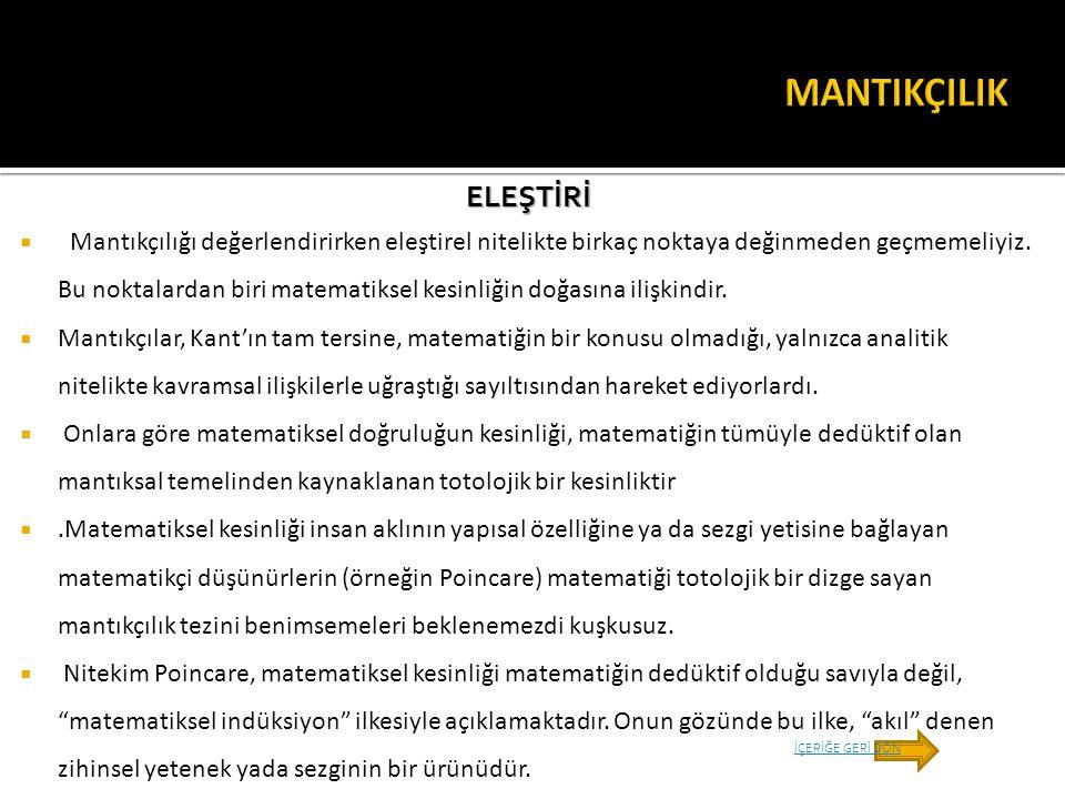 MANTIKÇILIK ELEŞTİRİ.