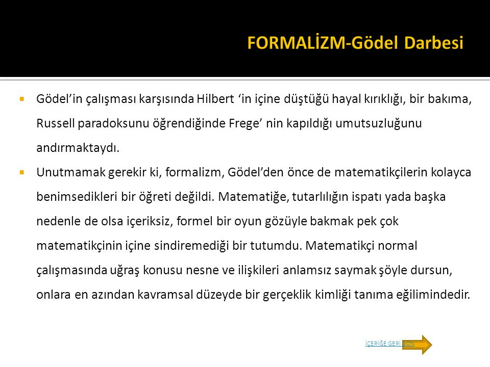 FORMALİZM-Gödel Darbesi