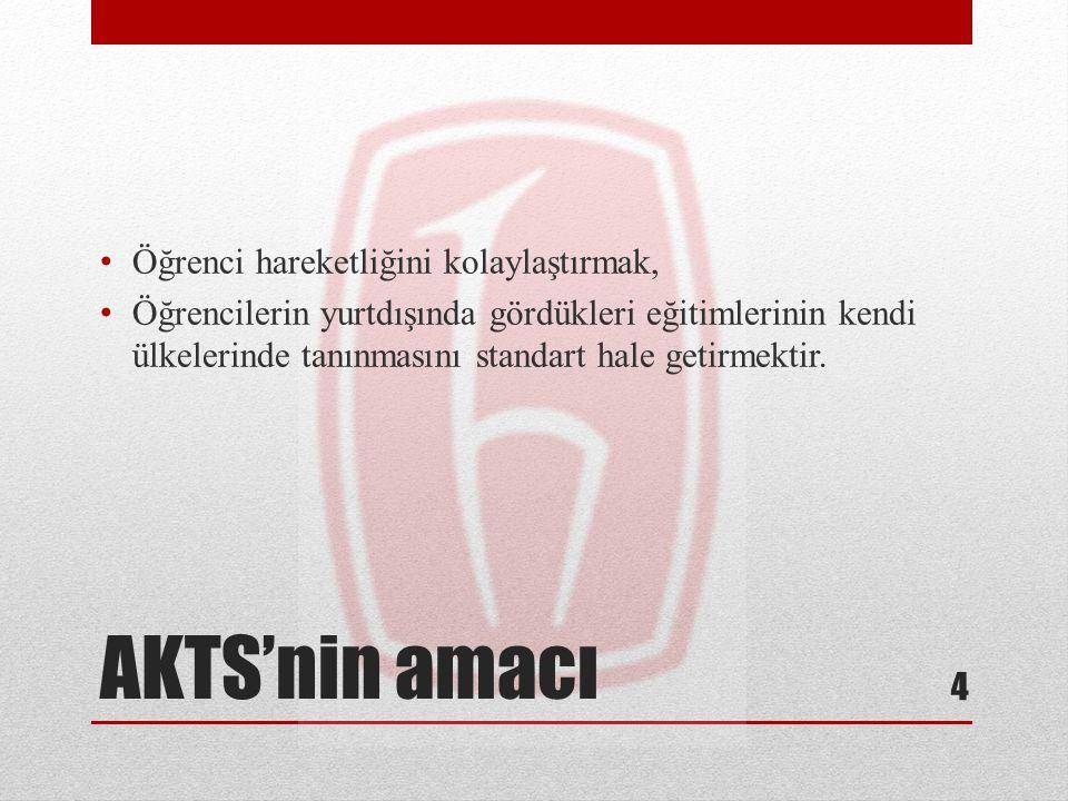 AKTS'nin amacı Öğrenci hareketliğini kolaylaştırmak,