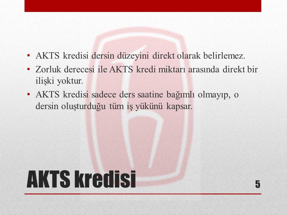 AKTS kredisi AKTS kredisi dersin düzeyini direkt olarak belirlemez.