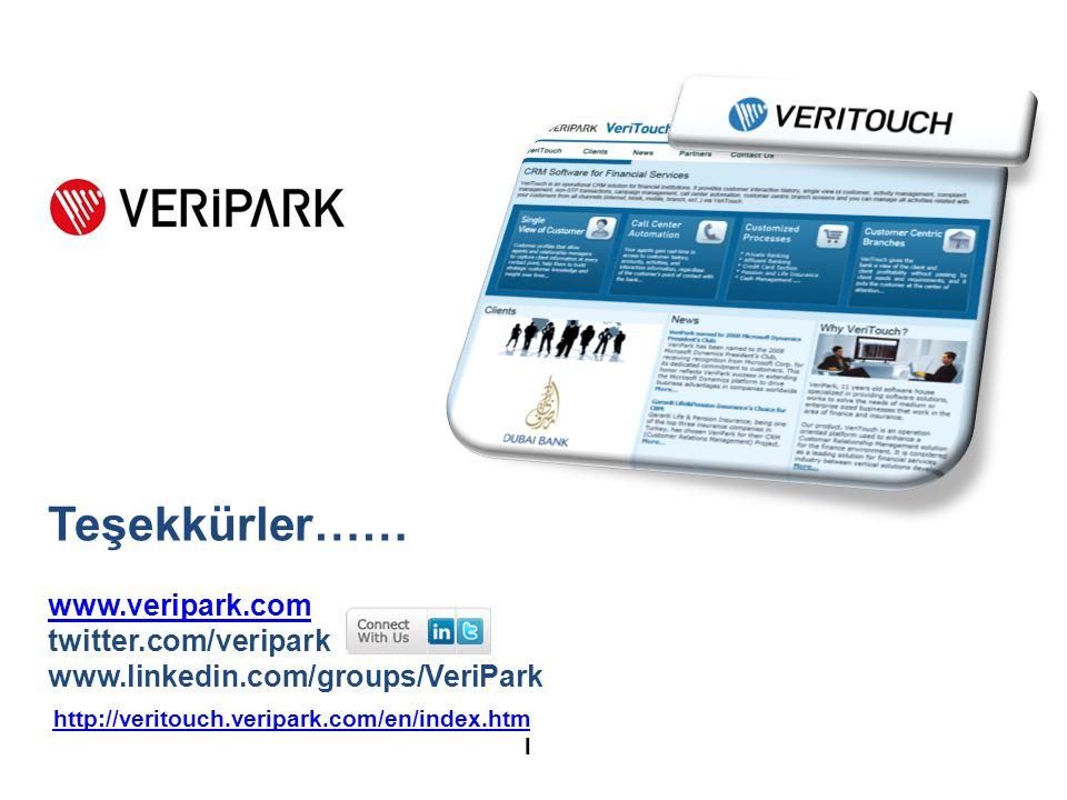 Teşekkürler…… www.veripark.com twitter.com/veripark