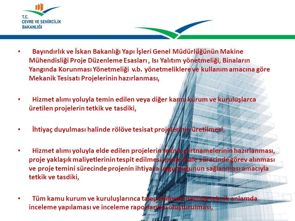 Bayındırlık ve İskan Bakanlığı Yapı İşleri Genel Müdürlüğünün Makine Mühendisliği Proje Düzenleme Esasları , Isı Yalıtım yönetmeliği, Binaların Yangında Korunması Yönetmeliği v.b. yönetmeliklere ve kullanım amacına göre Mekanik Tesisatı Projelerinin hazırlanması,