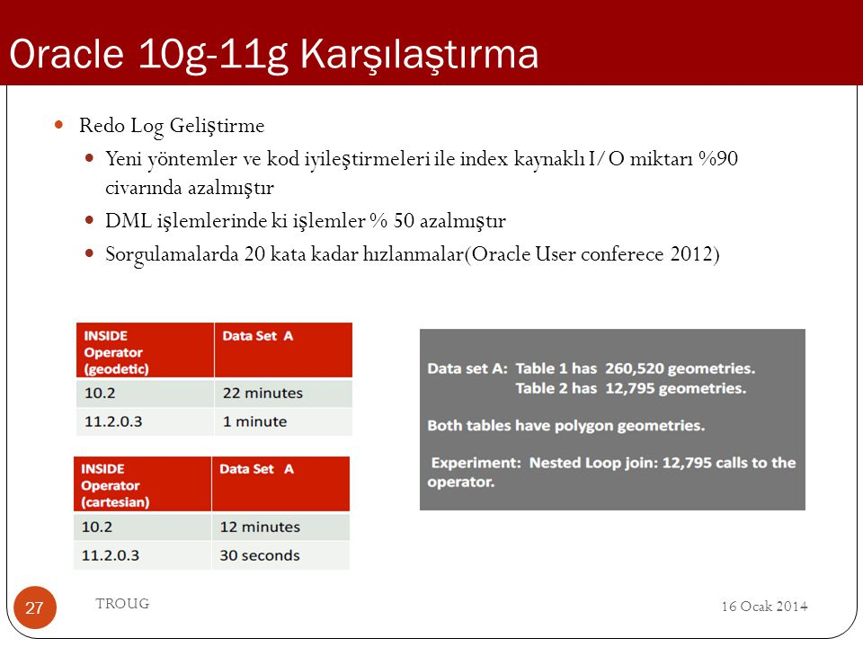 Oracle 10g-11g Karşılaştırma