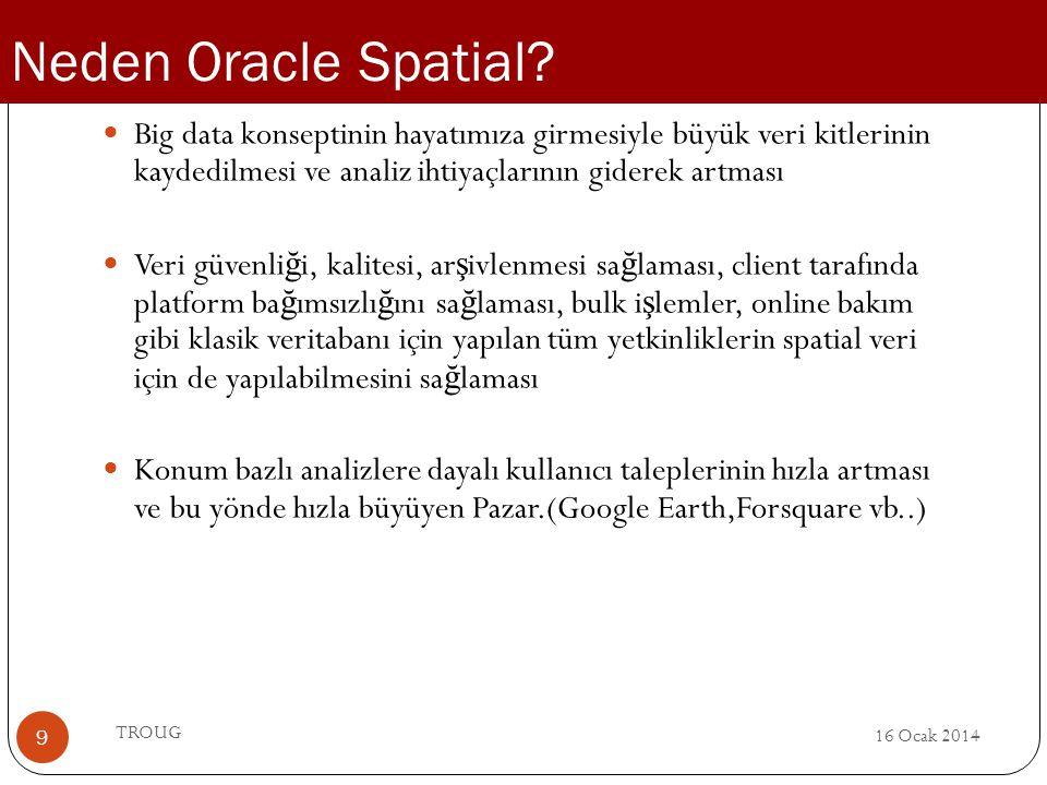 Neden Oracle Spatial Big data konseptinin hayatımıza girmesiyle büyük veri kitlerinin kaydedilmesi ve analiz ihtiyaçlarının giderek artması.