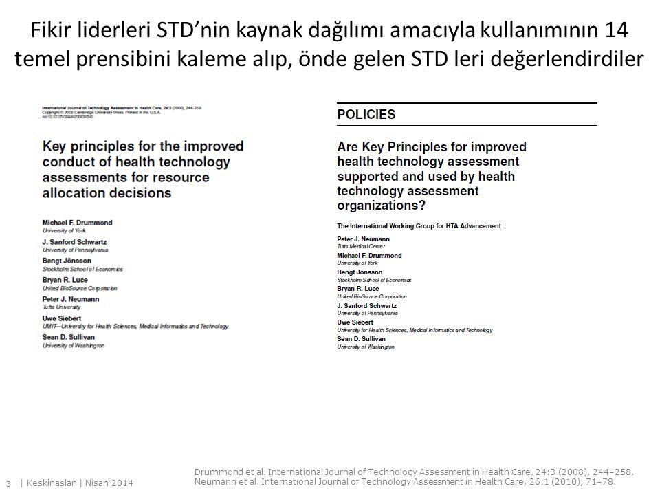 Fikir liderleri STD'nin kaynak dağılımı amacıyla kullanımının 14 temel prensibini kaleme alıp, önde gelen STD leri değerlendirdiler