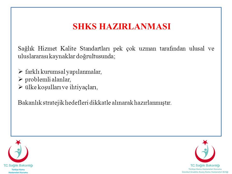 SHKS HAZIRLANMASI Sağlık Hizmet Kalite Standartları pek çok uzman tarafından ulusal ve uluslararası kaynaklar doğrultusunda;