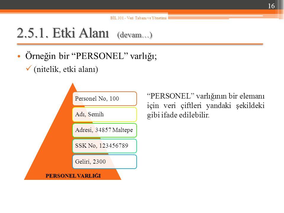 2.5.1. Etki Alanı (devam…) Örneğin bir PERSONEL varlığı;
