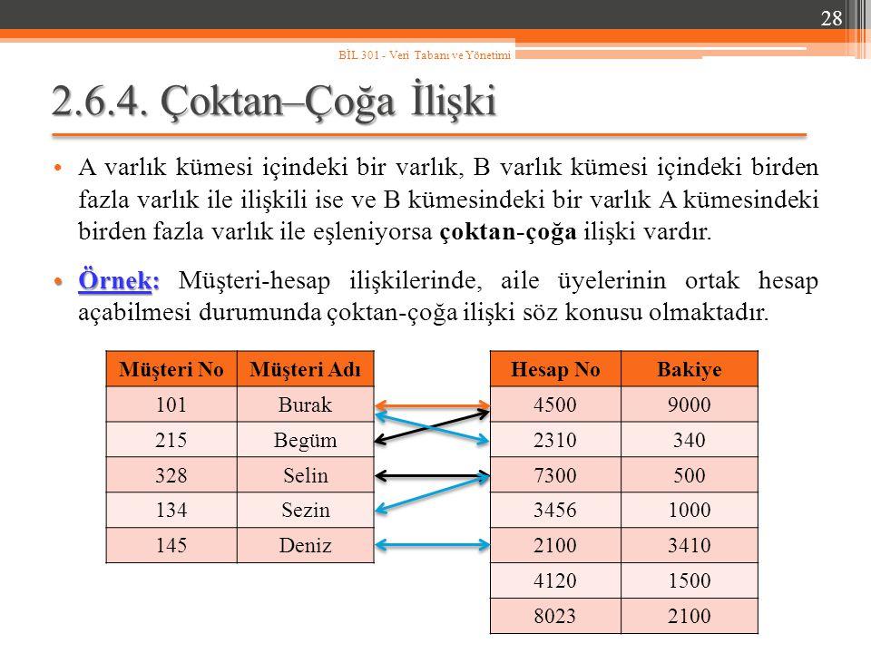 BİL 301 - Veri Tabanı ve Yönetimi