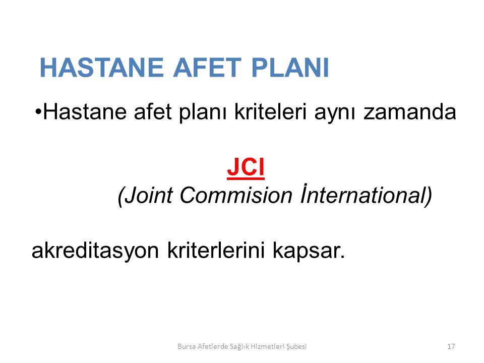HASTANE AFET PLANI JCI Hastane afet planı kriteleri aynı zamanda
