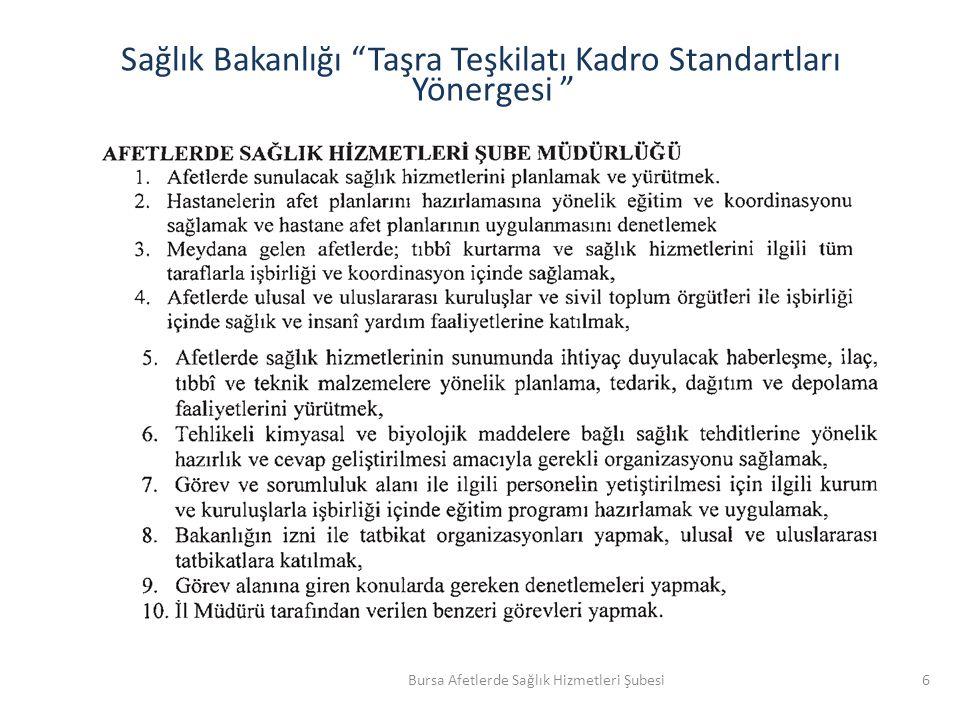 Sağlık Bakanlığı Taşra Teşkilatı Kadro Standartları Yönergesi