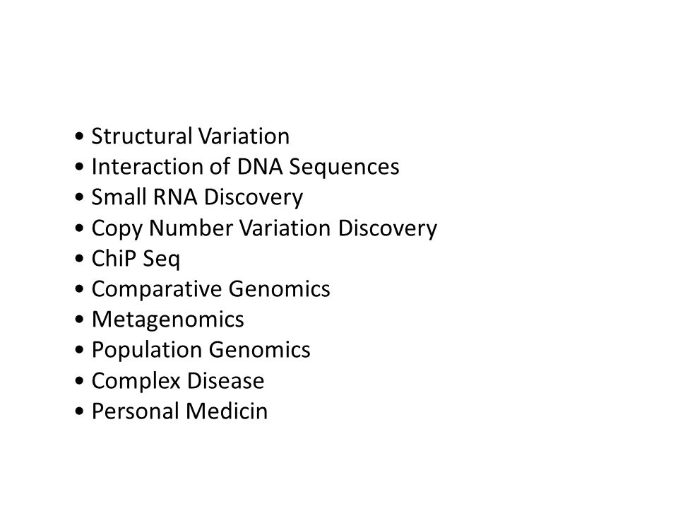 • Structural Variation • Interaction of DNA Sequences • Small RNA Discovery • Copy Number Variation Discovery • ChiP Seq • Comparative Genomics • Metagenomics • Population Genomics • Complex Disease • Personal Medicin
